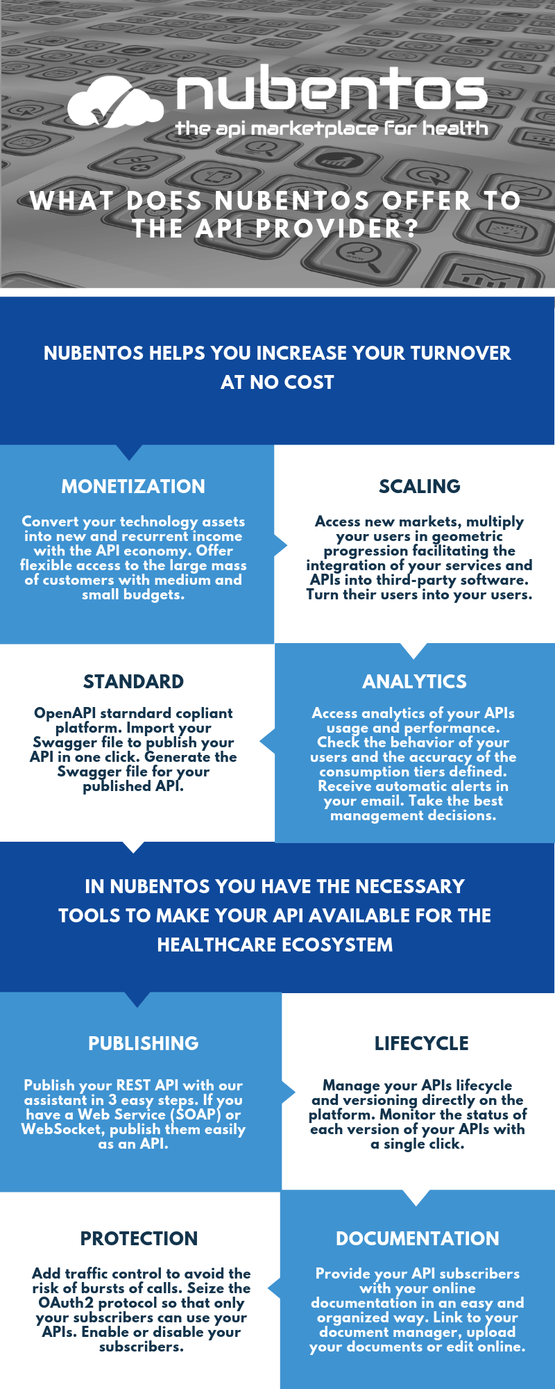 infographics what does nubentos offer to the api provider