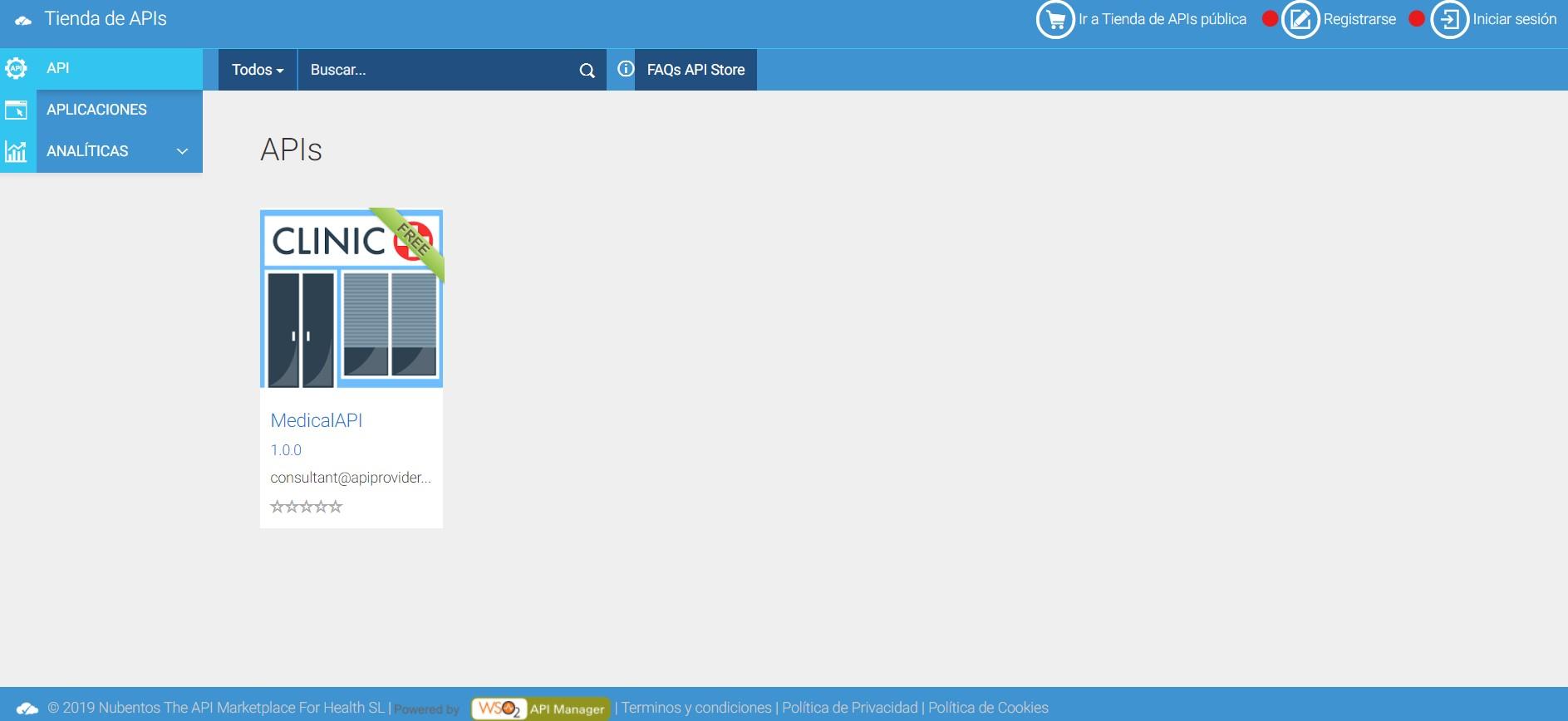 Visitante anonimo API Store